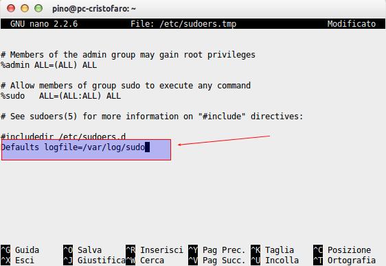 log accessi con sudo su ubuntu